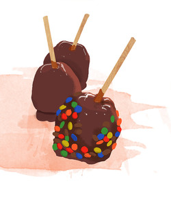 Caramel Apples with M&Ms