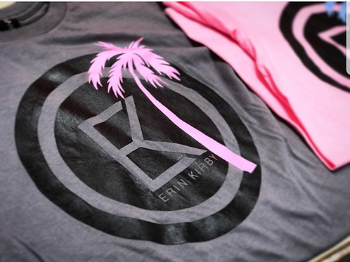 Gray T-Shirt w/Pink Palm (Women)