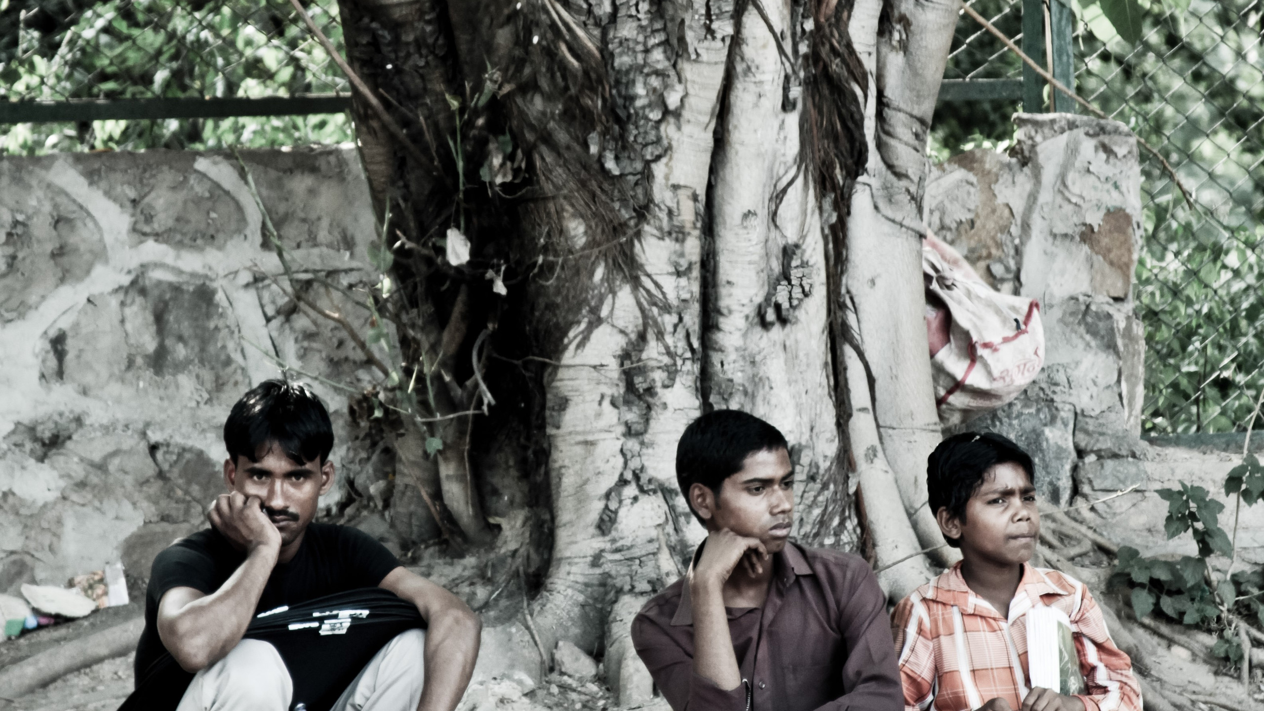 Newspapers and magazine sellers take a break under a banyan tree near a traffic island in south Delhi. Over a third of all migrants in the country belong to 15-29 age group
