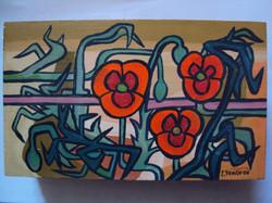 長方形彩繪雅盒 (三色堇圖案)