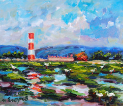 H35. 高美燈塔 Gaomei Lighthouse 53.0x45.5cm 2011 油畫.JPG