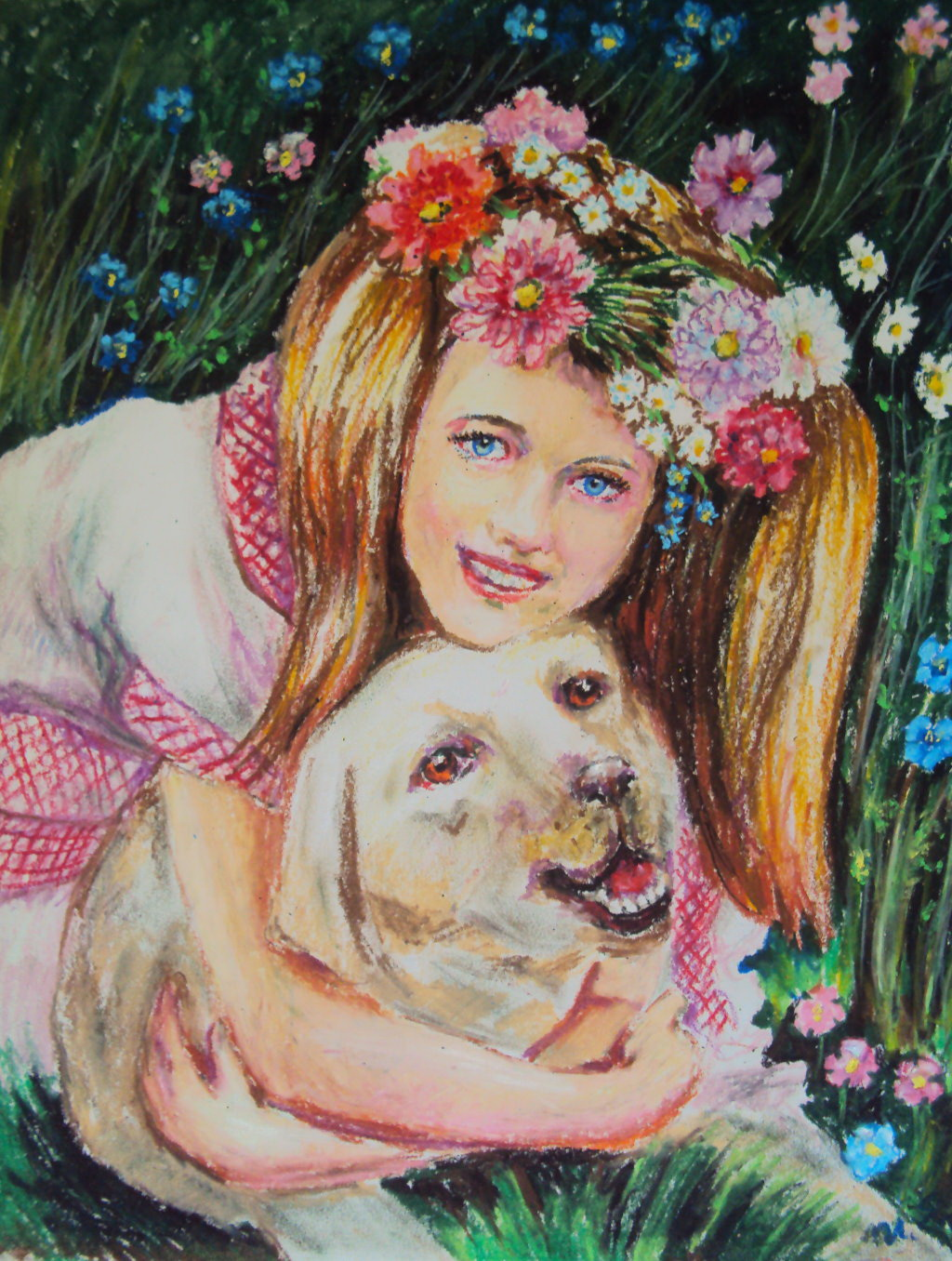 4-1. 愛犬如己 Labrador Retriever and Me 53x38.5cm 蠟筆畫.jpg