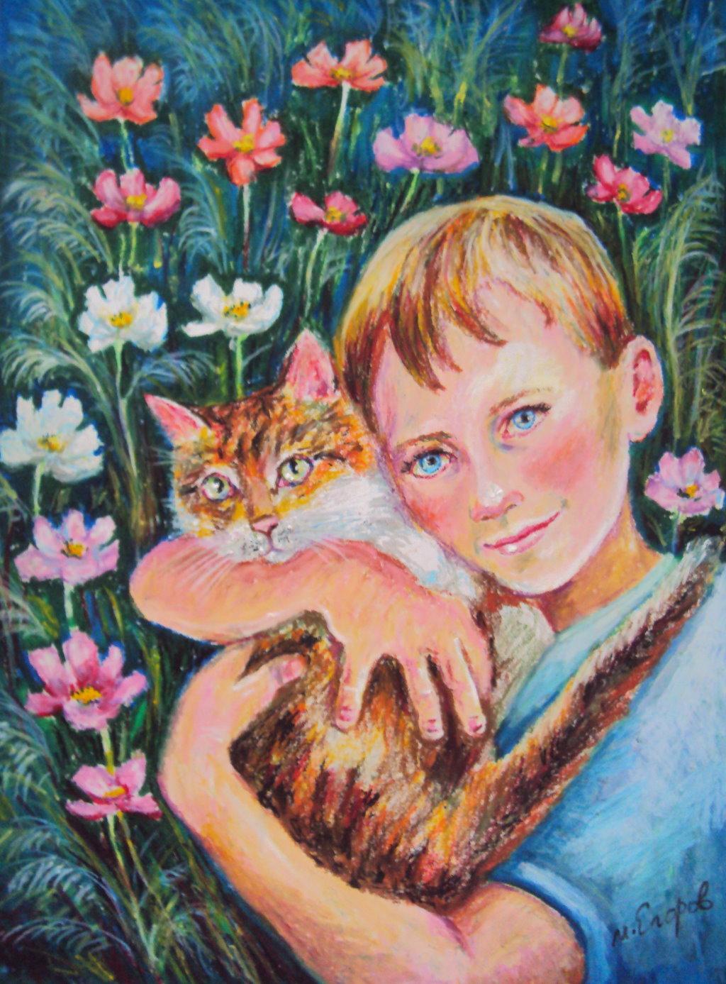 2-6.  依偎的日子Romashko with Cat 53x38.5cm 蠟筆畫.jpg