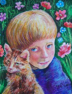 2-1. 以利亞和愛貓 Ilya with Kitten 46x39cm 蠟筆畫.jpg