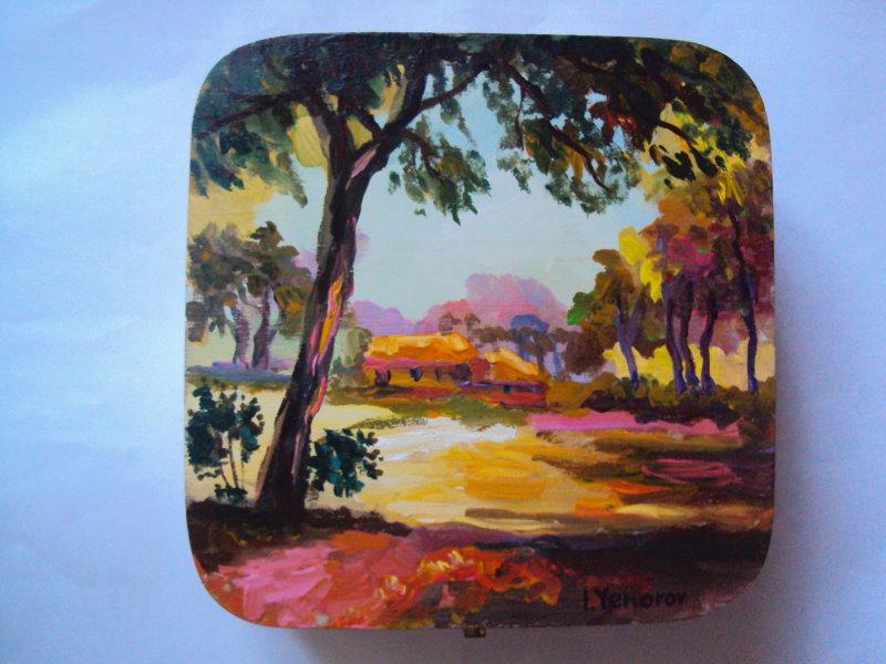 正方形彩繪雅盒 (樹林一景)
