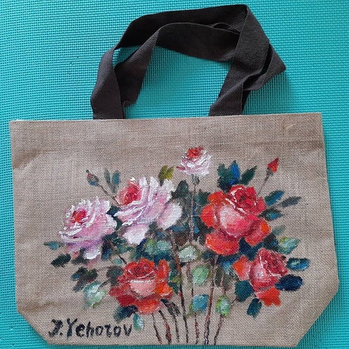 rose_original flax painting bag