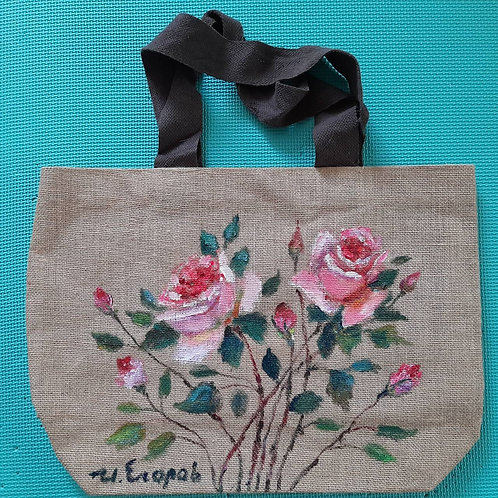pink rose_original flax painting bag
