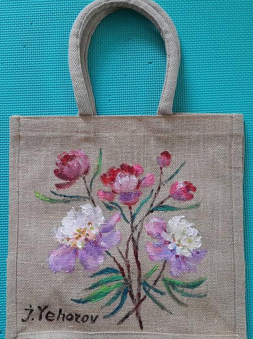 peony_original flax painting bag