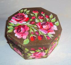 迷你八角形彩繪雅盒 (薔薇圖案)