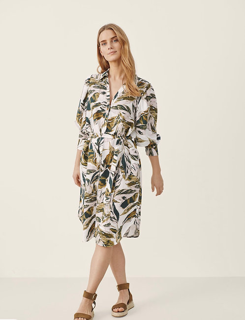 Part Two - IbethPW Dress - Green Palm Print