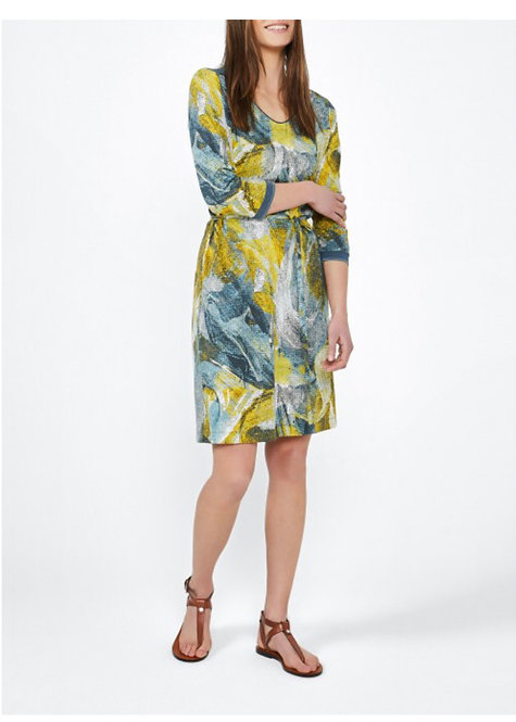 Sandwich - Painted Print Dress - Blue Shadow