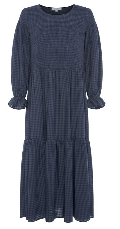 Great Plains - Micro Gingham Round Neck Dress - Navy