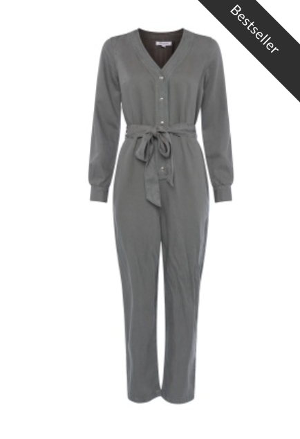 Great Plains - Soft Twill Belted Jumpsuit - Washed Bottle Green