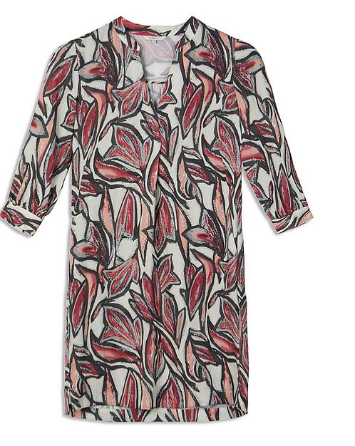 Sandwich Dress -Abstract Print - Salmon Peach