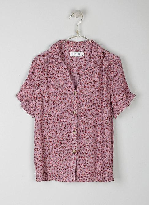 indi & cold -Floral Print Patty Shirt - Lila