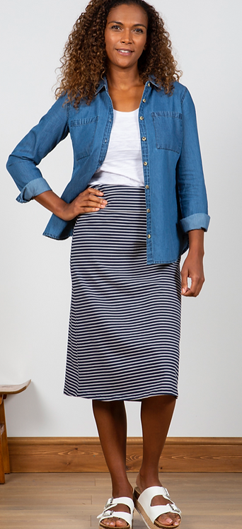Lily and Me -Beach Midi Skirt - Navy and White