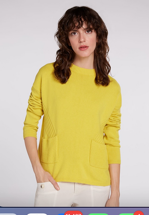 Oui -Knitted Jumper with Patch Pockets -Warm Olive