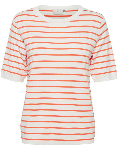 Kaffe - KAmala Pullover - Chalk/Orange stripe