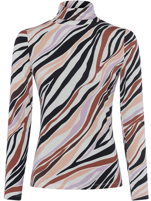 Great Plains -Abstract Jersey Roll Neck - Multi