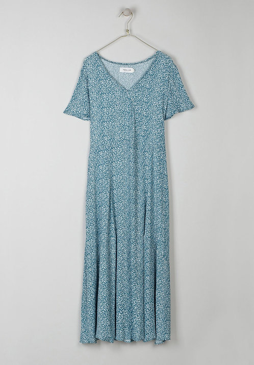 indi & cold - Mid Floral Print Dress - Agua