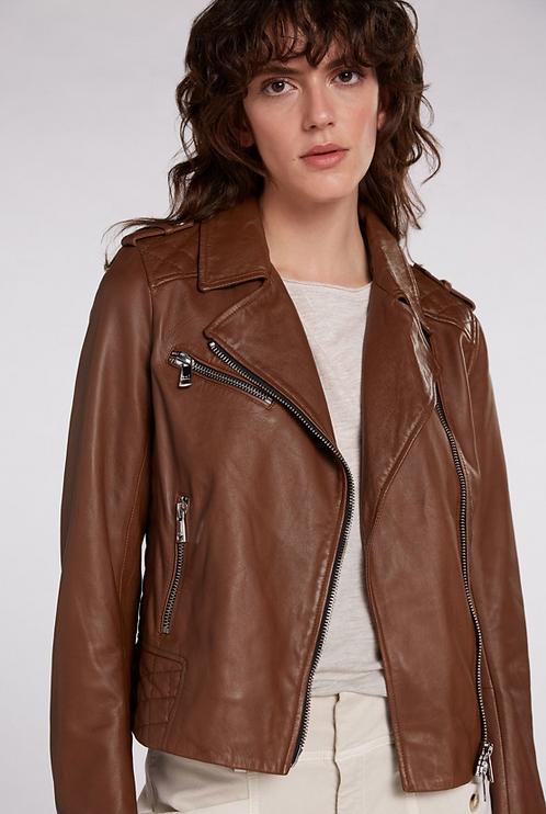 Oui - Leather Biker Jacket - Light Brown