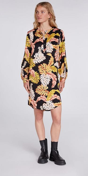 Oui - Long Tunic/Dress with Leaf Motifs