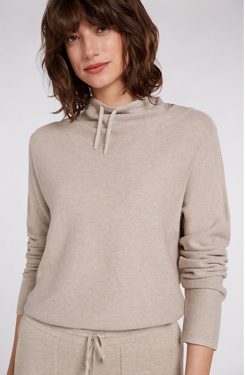 Oui -Knitted Jumper withStand Up Collar - Light Stone