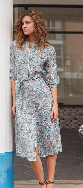 Oui -Paisley Print Linen Dress