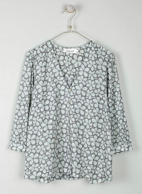 indi & cold - Floral Print Shirt - Agua
