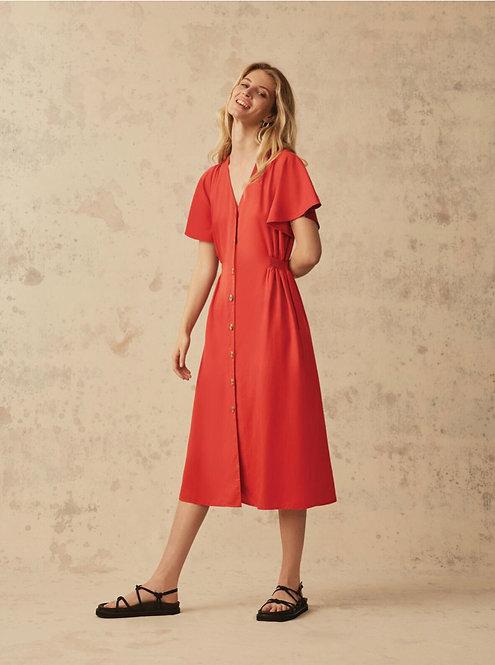 Great Plains -Yelena Midi Dress - Scarlet
