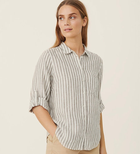 Part Two - Cindie Shirt  - Stripe  Vetiver