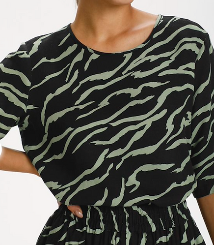 Kaffe - KAziana Blouse - Black, Hedge Zebra Print