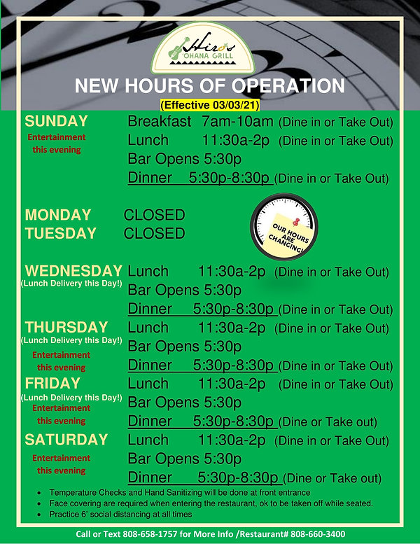 NEW HOURS OF OPERATION revised 02.28.21.