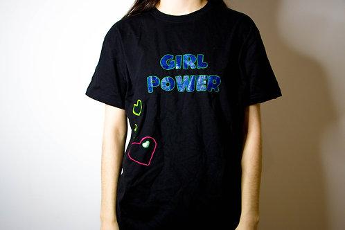 """Футболка с надписью """"girl power"""" и узором в форме сердец"""