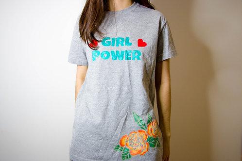"""Футболка с надписью """"Girl Power"""" сердечками и розой"""