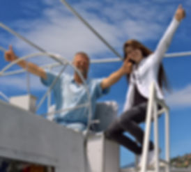 Tanimara a bordo del catamarano Tanimra III
