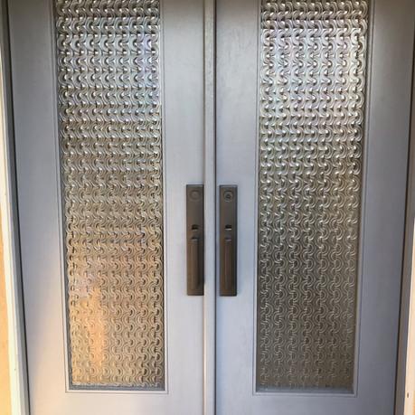 Glass Double door with design