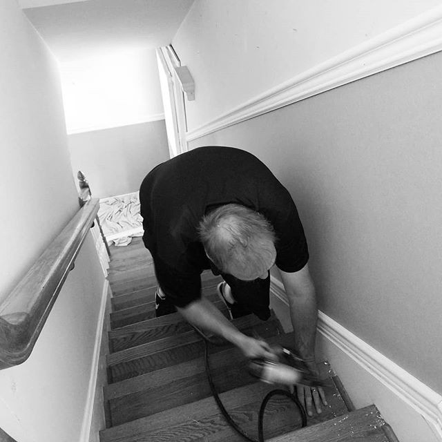 Danny with Integrity Woodworking Installing Wainscotting