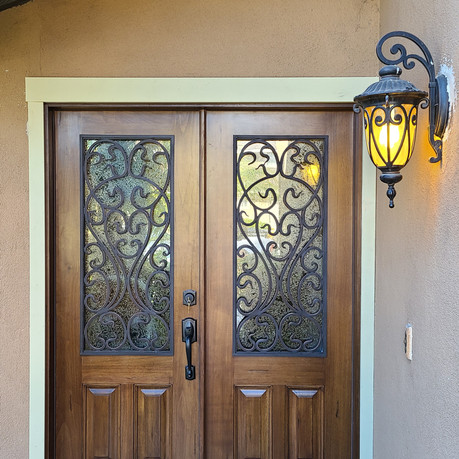 Wood and Iron front Double  Door