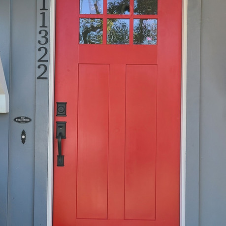 Craftsman front door with six light- red