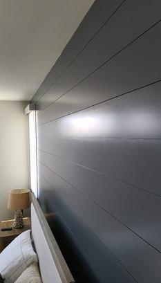 Grey shiplap accent wall