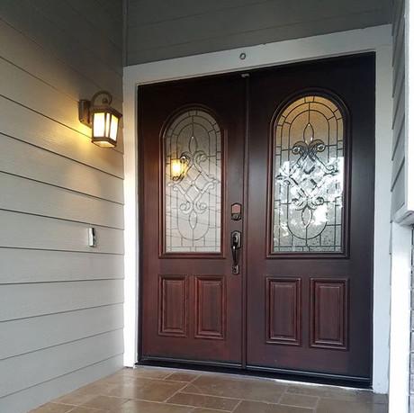 Elegant new solid-core door with glass
