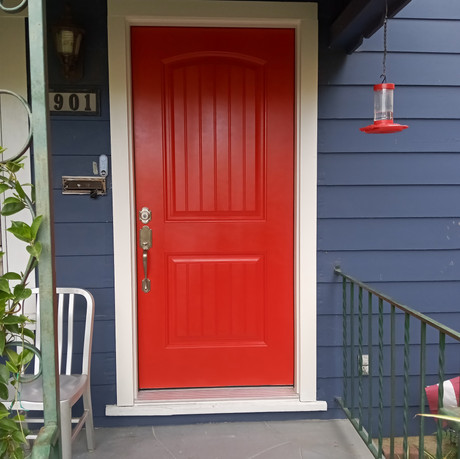 Arch Top 2 panel with lines front door - in Red