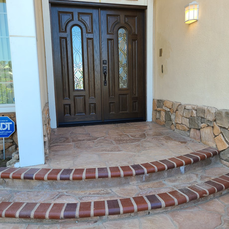 Classic Double front door with arch top window