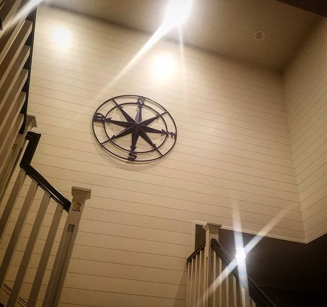 Shiplap wall in Stair Well of home