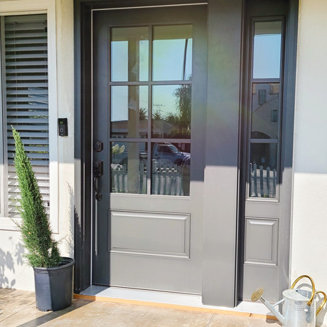 6 panel Glass Front door with Sidelight.