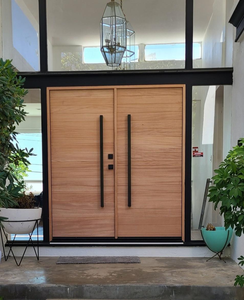 Modern Wood Double Door with black hardware