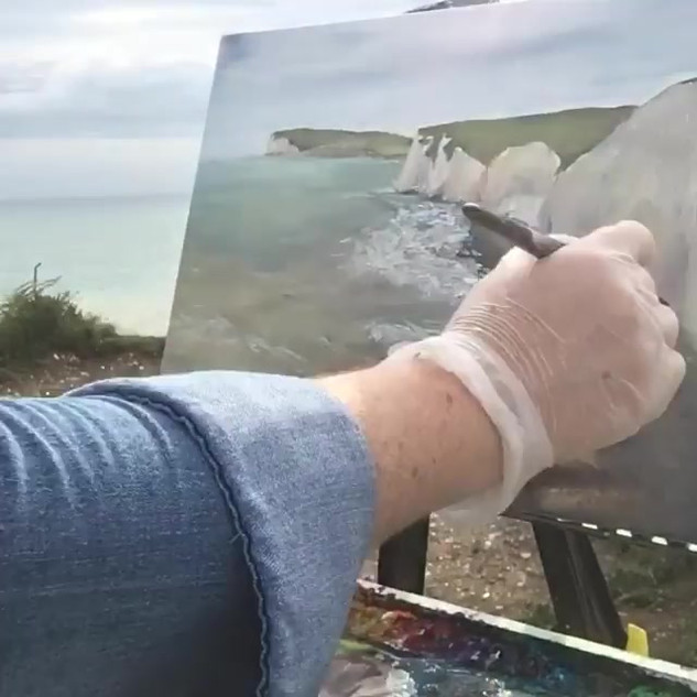 Painting the cliffs at Birling Gap#paint