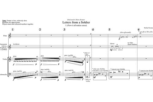 LETTERS FROM A SOLDIER (flute, percussion, violin, cello)