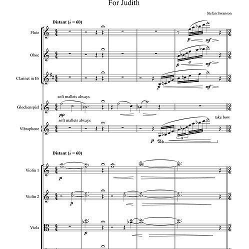 FOR JUDITH (flute, oboe, clarinet, percussion, string quartet)